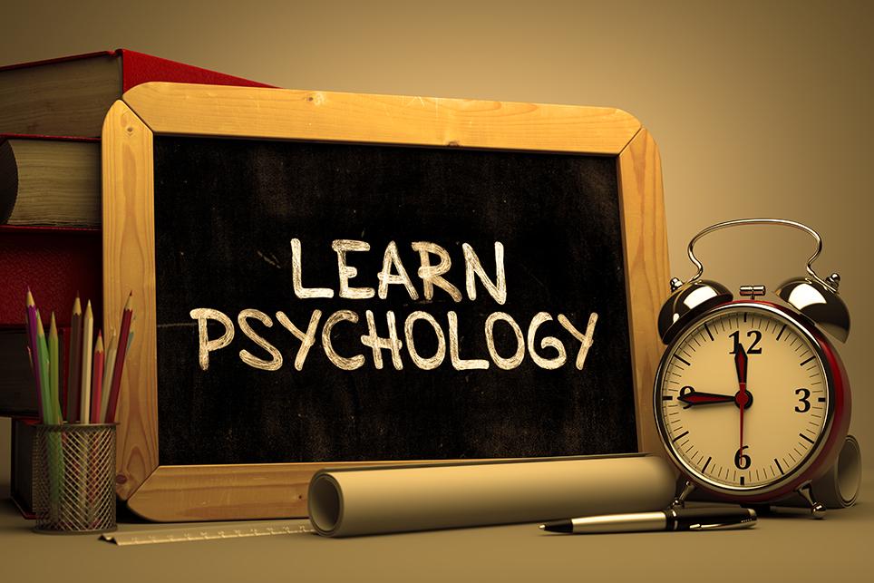Learn Psychology written on a blackboard