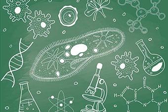 Hand drawn biology doodle set