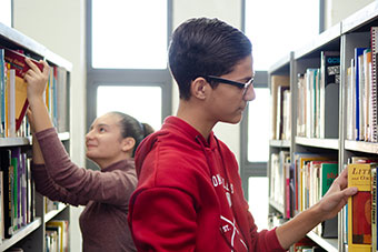 Two young students in Library