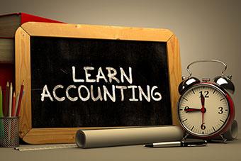 Learning Accounting written on a blackboard