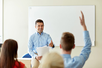 Teachers with students in class